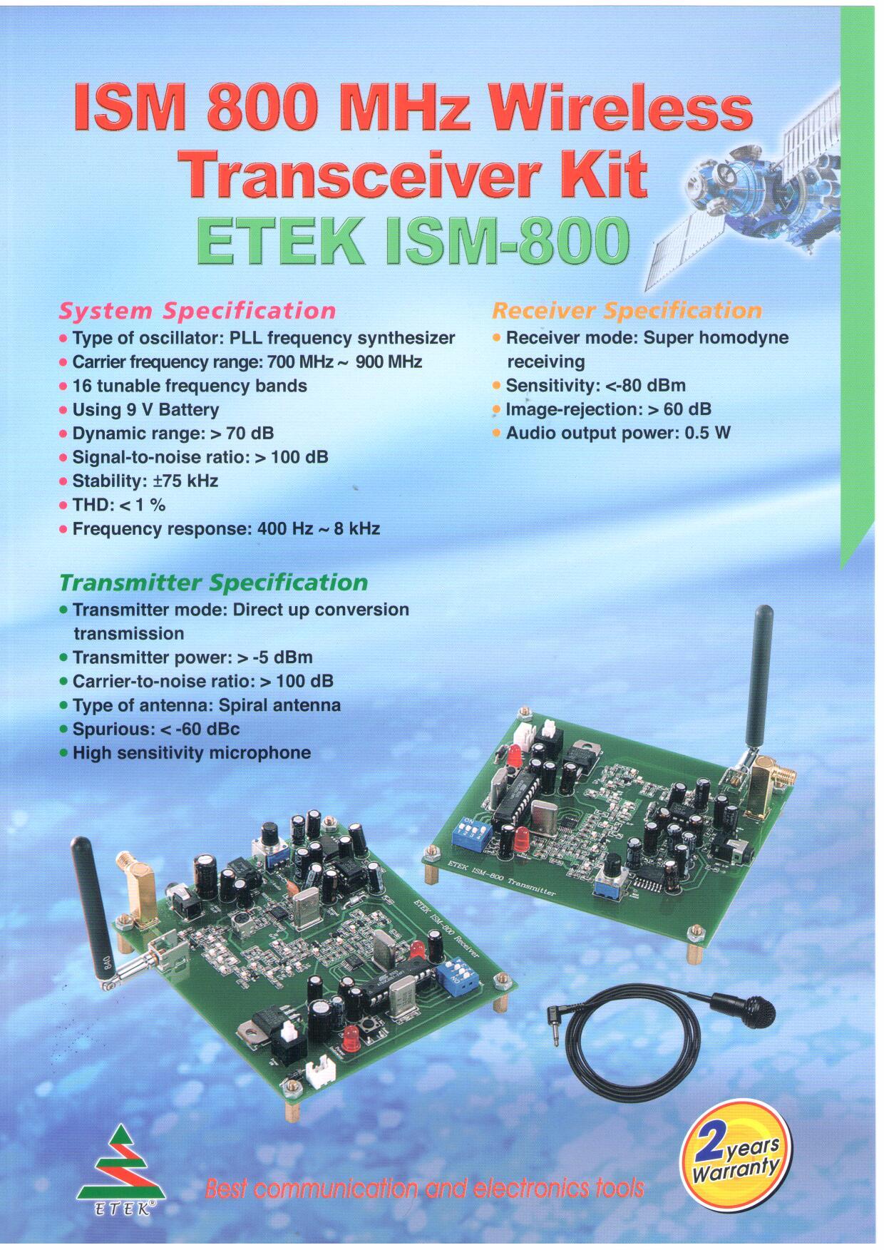 Etek Ism 800ism 800 Mhz Wireless Transceiver Kit Receiver Microphone Circuit
